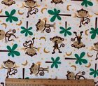 SNUGGLE FLANNELMONKEYS  PALM TREES on OFF WHITE 100 Cotton FabricNEW BTY