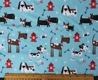 SNUGGLE FLANNEL DOGS  HYDRANTS on BLUE Cotton FabricNEW BTY