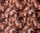 SNUGGLE FLANNELBROWN RUNNING HORSES STAMPEDE 100 Cotton Fabric NEW BTY