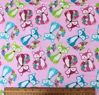SNUGGLE FLANNEL  MULTI COLOR FOXES  FLOWERS on PINK  100 Cotton NEW BTY