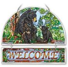 AMIA STAINED GLASS SUNCATCHER 12 X 11 BEAR FAMILY WELCOME 41193