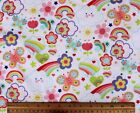 FLANNEL RAINBOWSBUTTERFLIESHEARTS on WHITE 100 Cotton Fabric NEW  BTY