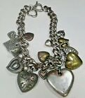 RARE Vtg Victorian Puffy Hearts 17 Charm Necklace Double Heart Shaped Clasp 84g