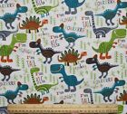 SNUGGLE FLANNEL COLORFUL TALKING DINOSAURS  100 Cotton FabricNEW BTY
