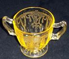 Anchor Hocking 'Cameo' / 'Ballerina' Yellow Open Sugar Bowl  - No Reserve