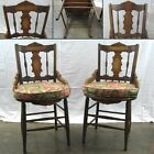 Pair of Antique Side Chairs - 1930s Era - Solid Wood with Loose Seat Cushions