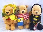 NEW DISNEY STORE BEANIE PICNIC BEE NEW FLOWER POOH SET OF 3 WITH TAGS