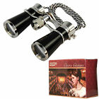 Compact 7x25 Opera Glasses Mysterious Black Pearl Silver Trim  Necklace Chain