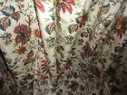 WAVERLY FELICITE CREME RED GREEN CINNAMON FLORAL (PAIR) FABRIC PANELS 46 X 80