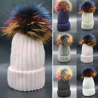 Women Dyed Real Fur Ball Pom Pom Knit Crochet Hat Winter Thick Beanie Cap