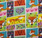 SNUGGLE FLANNEL  WHIMSICAL FOX PATCHWORK  100 Cotton NEW BTY