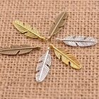 10/30/50Pcs Antique Silver/Gold/Bronze Feather Leaves Charm Pensant Findings3077