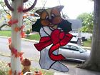 Stained Glass Christmas Kitty Suncatcher Real Glass