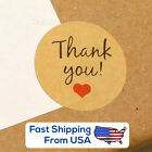 USA Kraft Paper Thank You Stickers with Heart round seal 3