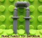 New LEGO Minifig Weapon KNIFE Lot of 2 on Sprue Dark Bluish Gray Knives Part
