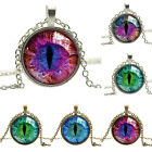 Dragon Cat Eye Glass Cabochon Silver Gold Plated Pendant Necklace Nimble