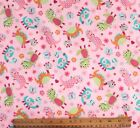 SNUGGLE FLANNELLITTLE GIRL DINOSAURS on PASTEL PINK 100 Cotton FabricNEW BTY