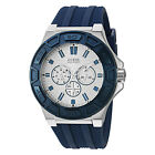 NEW GUESS WATCH Men * Blue Silicone Strap * Multi-Function * U0674G4/W0674G4