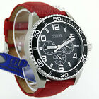 New GuEsS Mens Watch Chaser Sport Steel Leather MF 100M Red U0217G1 NwT Montre