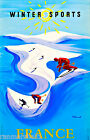 Paris France French Winter Sports Europe European Travel Poster Advertisement