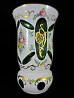 Bohemian Czech White Cased Overlay Cut To Emerald Green Glass  Gold Floral Vase