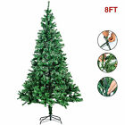 8FT Artificial Christmas Tree w Metal Stand Holiday Season Indoor Outdoor Green