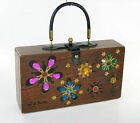 ENID COLLINS THE ORIGINAL BOX BAG WOODEN MIRA FLORES BEJEWELED PURSE SIGNED