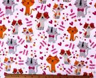 SNUGGLE FLANNEL  PRETTY KITTY CAT  HEARTS on WHITE100 Cotton Fabric NEW BTY