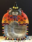 FITZ & FLOYD Essentials Kitty Witches Canapé Plate Candy Dish Curly Q's NIB