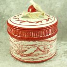 Fitz & Floyd Town & Country Lidded Box Candy Dish Red White Toile Christmas