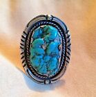 OLD PAWN LARGE SEA FOAM TURQUOISE  STERLING RING STUNNING STONE