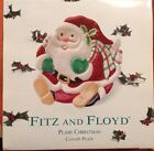 Fitz and Floyd Plaid Christmas Santa Canape Plate NIB