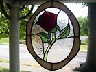 Stained Glass Enchanted Rose Suncatcher Real Glass
