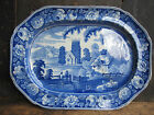 Antique English Staffordshire Earthenware Blue Transferware 20 Platter Estate