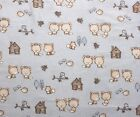 SNUGGLE FLANNEL BABY FOXES  BIRDS on PALE BLUE  100 Cotton Fabric  BTY