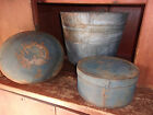 19thc Antique Primitive New England Bucket Original Blue Paint 1 AAFA