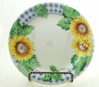 Corning Corelle Sunsations Salad Plate Blue Gingham Plaid Yellow Sunflowers