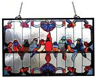 Tiffany Style Stained Glass Birds Window Panel 32 X 20 Inches Handcrafted New
