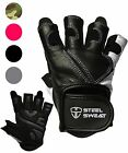 Steel Sweat Workout Gloves for Gym, Weight Lifting, Training Leather SCARR Black