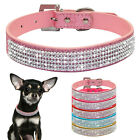 Bling Rhinestone Sequins PU Leather Pet Dog Collars Fancy Chihuahua Dog Necklace