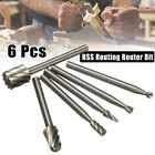 6x HSS Routing Router Grinding Bits Burr Tool Set For Dremel Rotary Tool Cutter