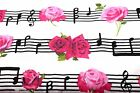 MUSICAL PINK FLOWERS MUSIC FLANNEL FABRIC 100 COTTON SEWING QUILTING SOLD BTY