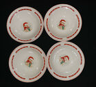Set of 4 Cereal Bowls Tienshan Christmas Theodore Bear w/ Green Present~RARE
