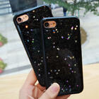 Fashion Black Bling Star Glitter Soft Gel Case Cover for iPhone 6 6s 7 8 8 Plus