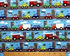 SNUGGLE FLANNEL CARS  TRUCKS in TRAFFIC on BLUE100 Cotton Fabric NEW BTY