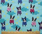 SNUGGLE FLANNEL  BOSTON TERRIER in PJs on AQUA 100 Cotton Fabric NEW BTY