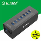 ORICO Black Aluminum 7 Port Super Speed USB 30 Hub Power Adapter For PC Laptop