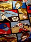 New 15 Yards Of Red Beige And Blue Baseball Fleece Fabric FREE Shipping