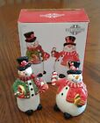 2008 Fitz & Floyd Sugar Coated Christmas Snowman Salt & Pepper Shakers RETIRED