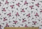 SNUGGLE FLANNEL  PINK POODLES in PARIS on WHITE 100 Cotton Fabric NEW BTY